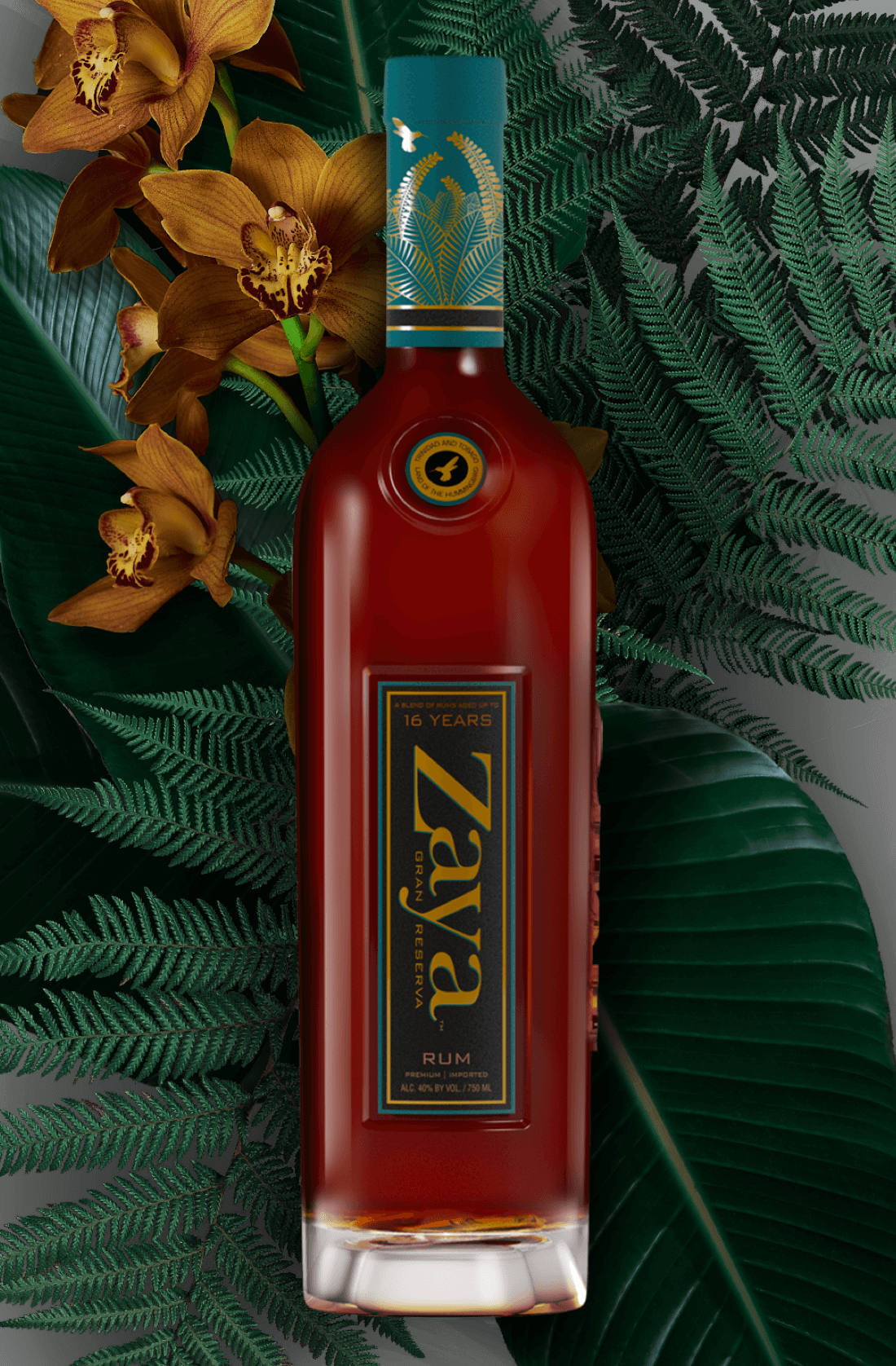 zaya rum bottle with orchids and tropical leaves
