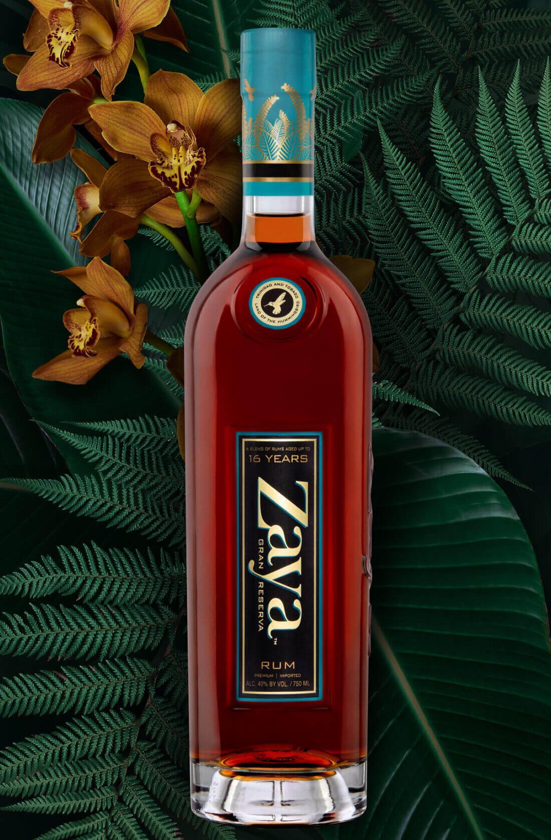 zaya gran reserva rum bottle with leaves and flowers